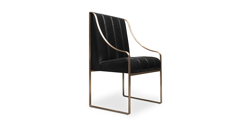 Brett Design | Sydney Leather and Copper Dining Chair