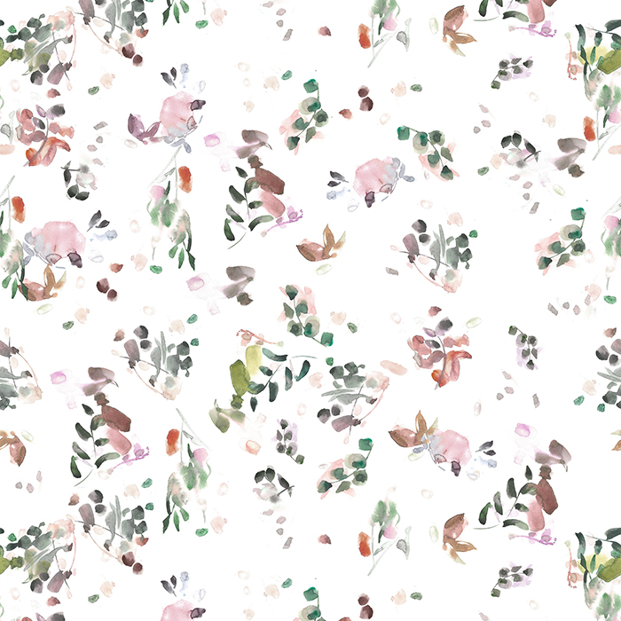 BRETT DESIGN Wallpaper Blur | Blush & Moss with Orange