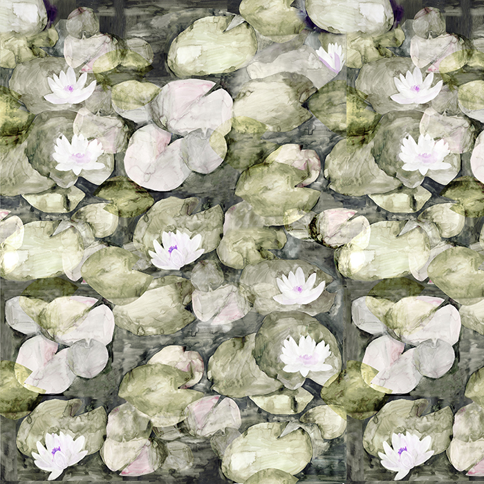 BRETT DESIGN Wallpaper Lily Pads Watercolor | Olive