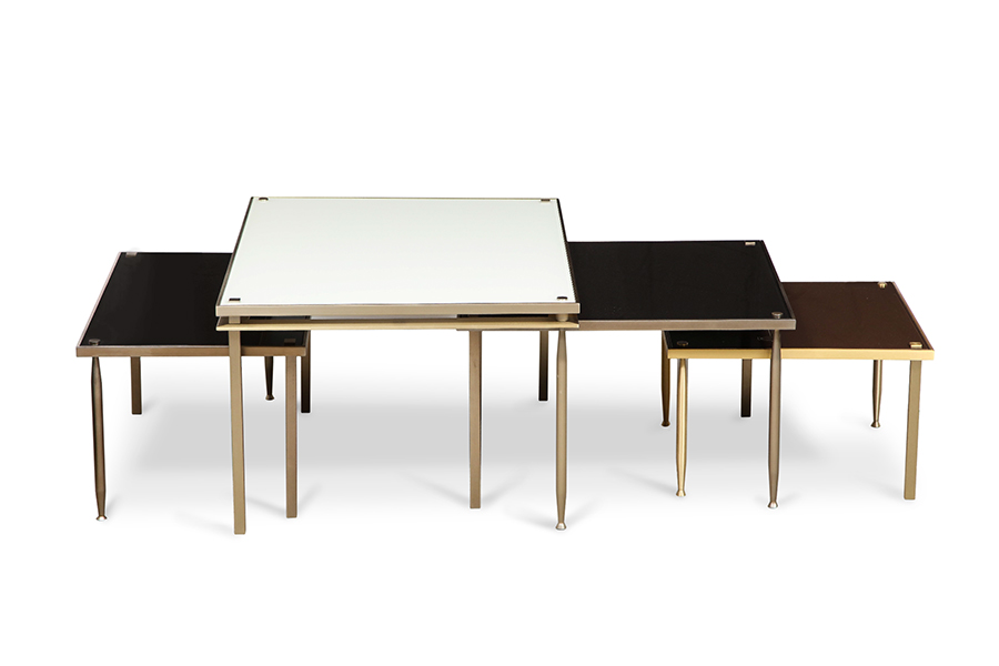 Metal and Glass Multiples Table Nested Coffee or Cocktail Table