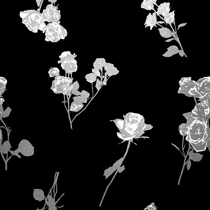 Brett Design Next Florries Roses Wallpaper Silver on Black