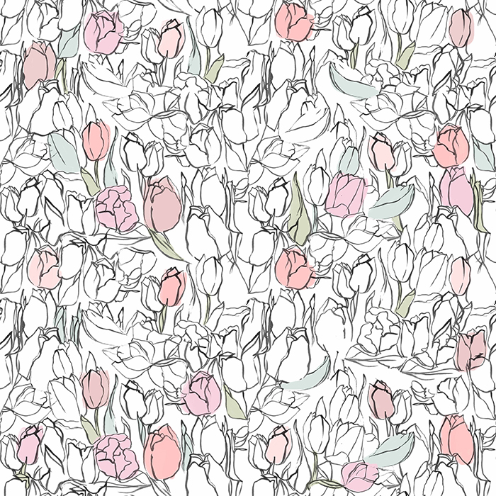 Brett Design Spot Color Tulips Wallpaper