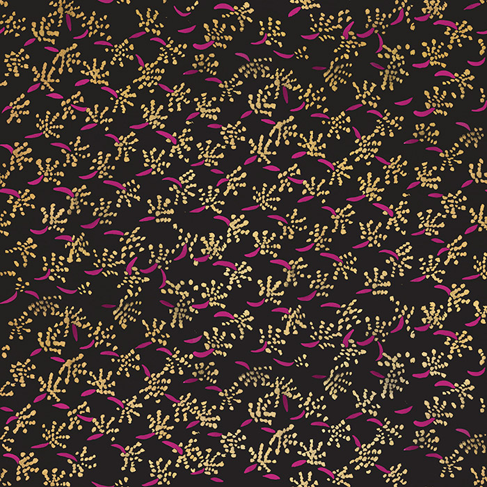 Brett Design Inc Wallpaper Anglo-Indian Details in Hot Pink on Gold