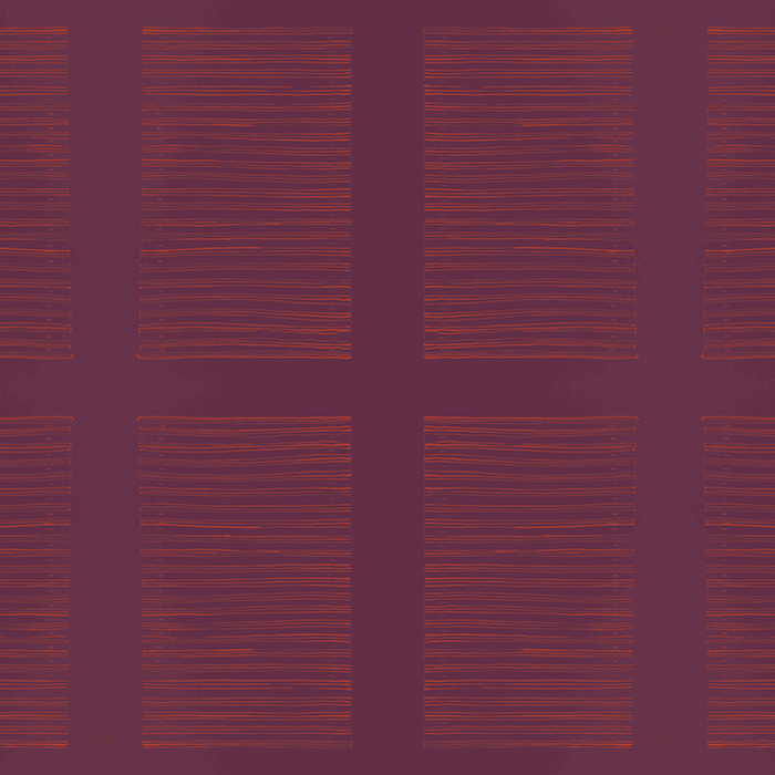 Brett Design Musical Stripes Wallpaper in Orange on Burgandy