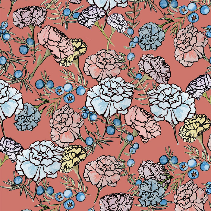 Brett Design Inc Wallpaper Juniper Berry Carnations in Clay