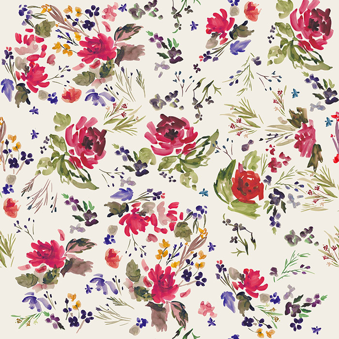 Brett Design Inc Wallpaper Velvet Flowers Original
