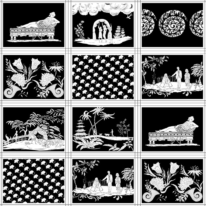 English Penwork Original Black and White Wallpaper